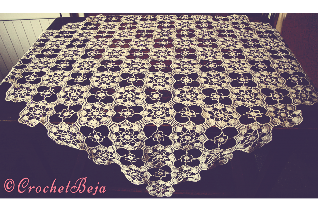 Crochet Tablecloth with 81 Circles