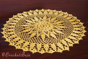 Yellow Symmetric Doily with Pattern