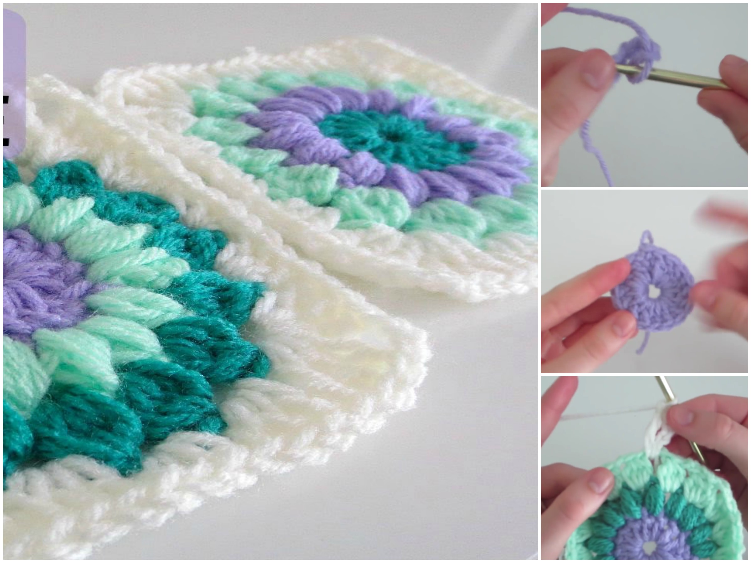 Starburst Square Pattern & Video Tutorial | CrochetBeja