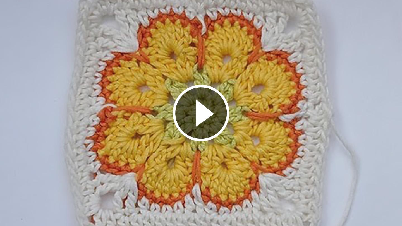 Crochet Sunflower Granny Square – Video Tutorial | CrochetBeja