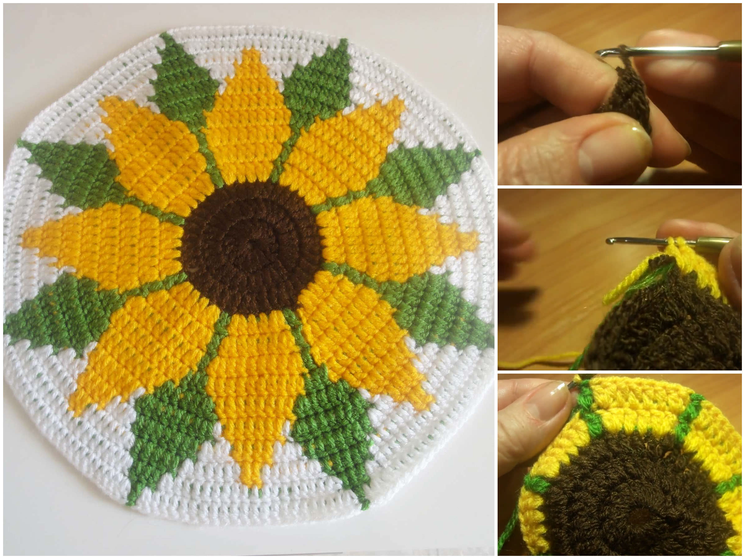 Crochet Sunflower Coaster Tutorial Crochetbeja