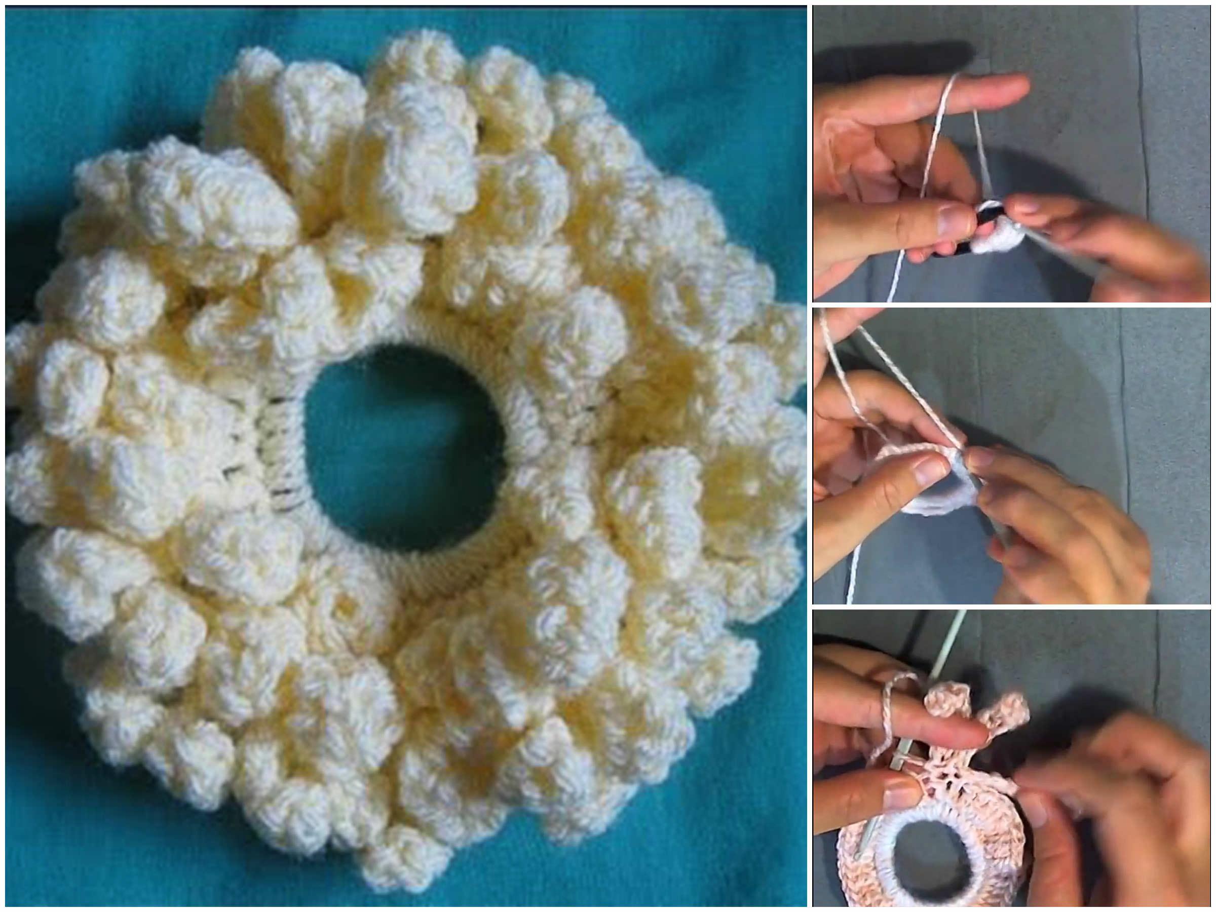 Crochet Flower Petal Scrunchy