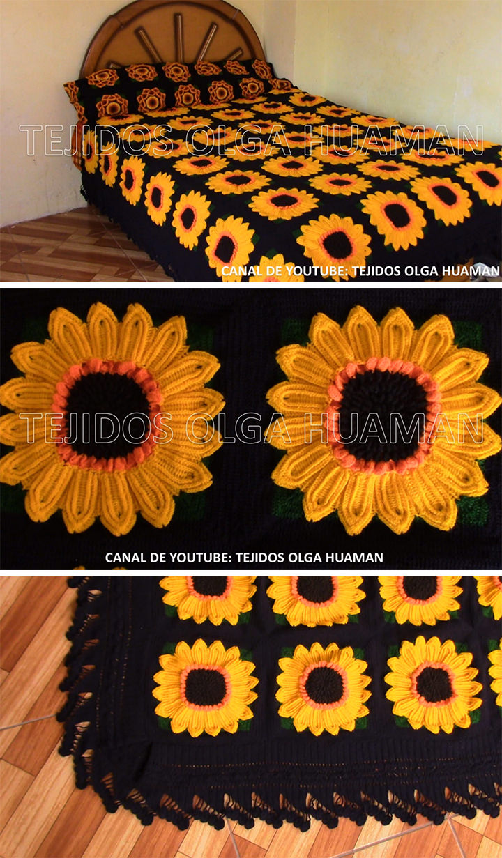 Sunflower Granny Square Blanket Crochet Pattern Tutorial