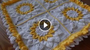 Crochet 12 Petals Flower In Square – Video Tutorial