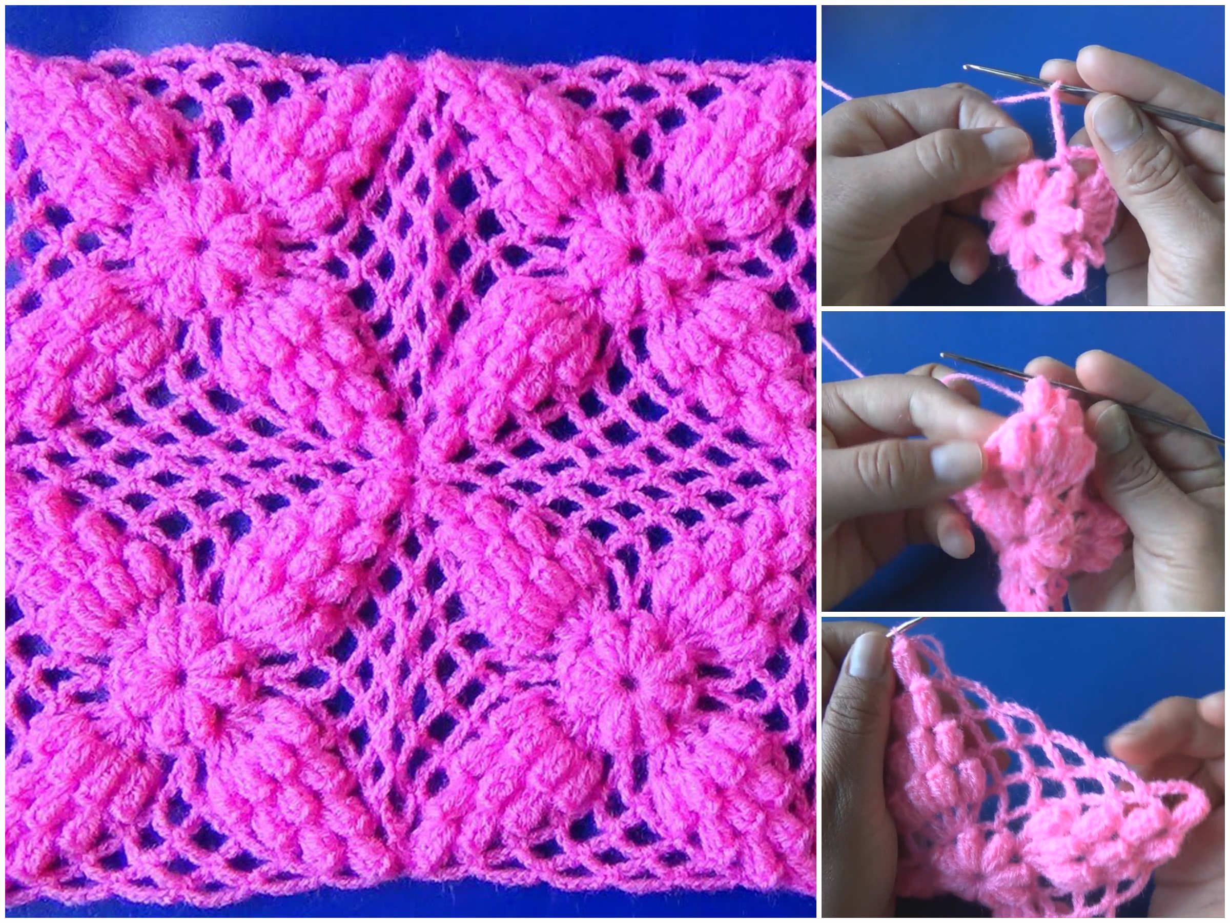 Red Crochet Flower Square