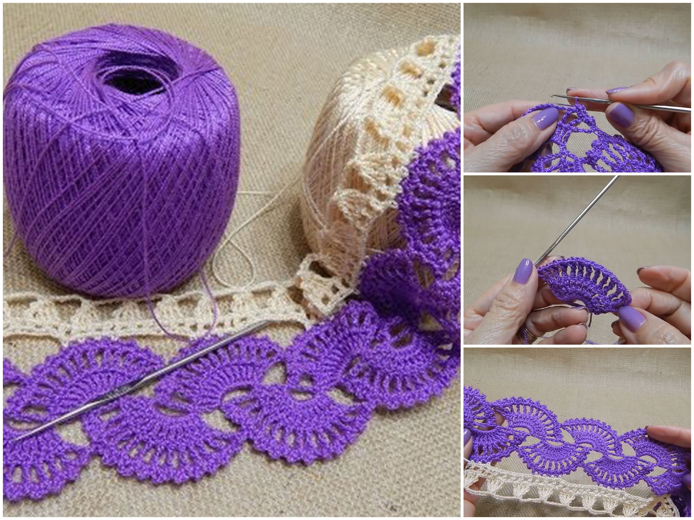 Two Color Crochet Lace Border Pattern