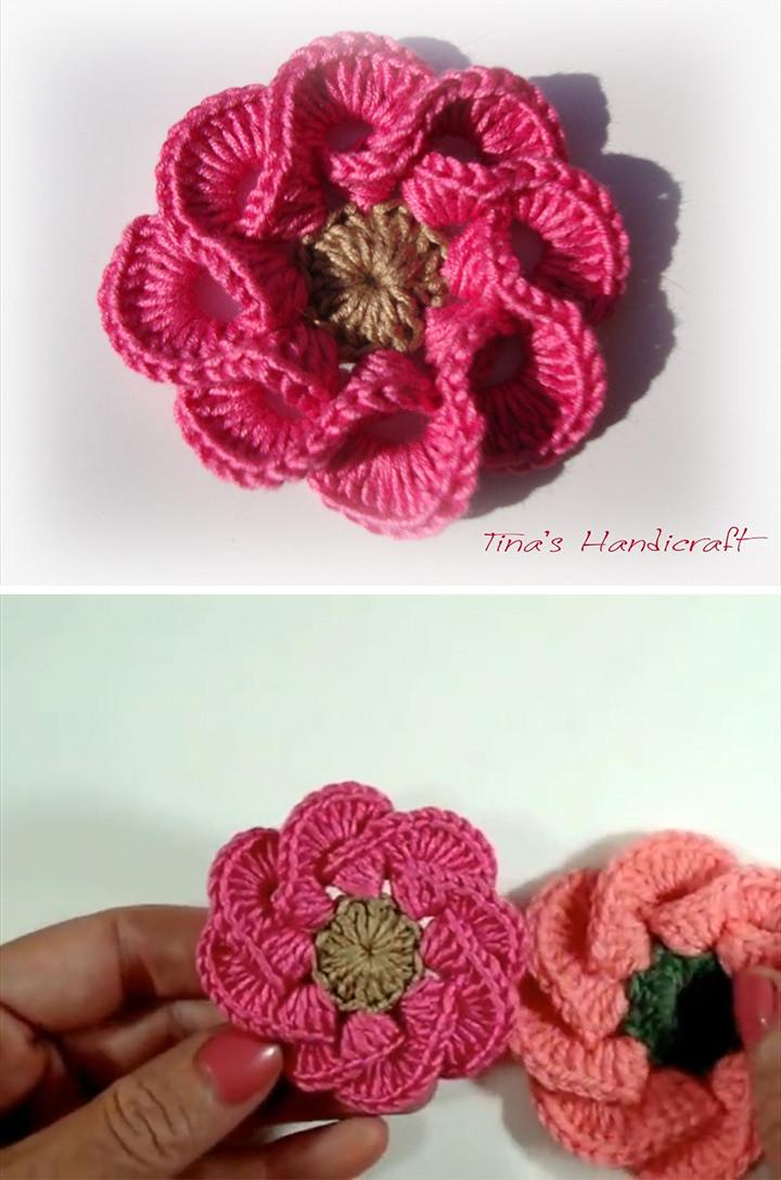 3D Red Flower Crochet Pattern Tutorial