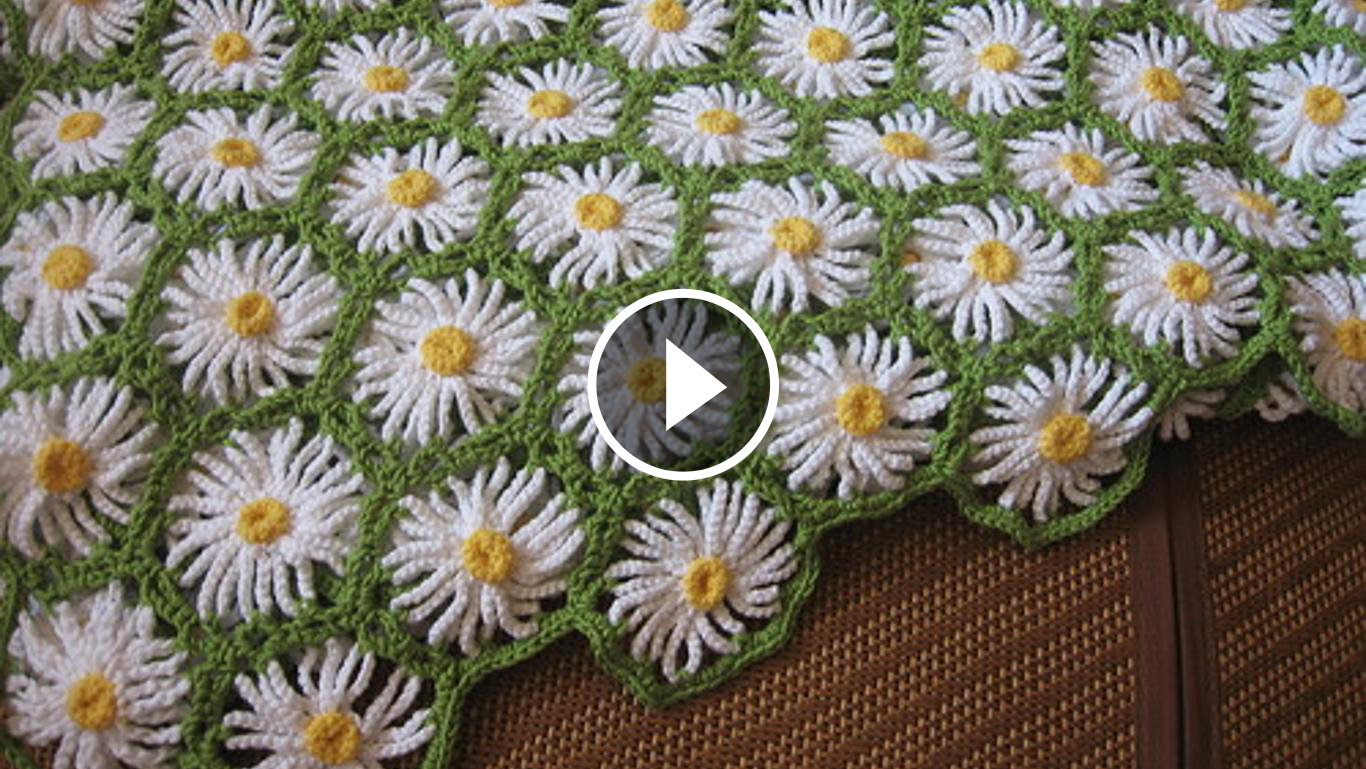 Daisy Crochet Flowers Blanket Tutorial