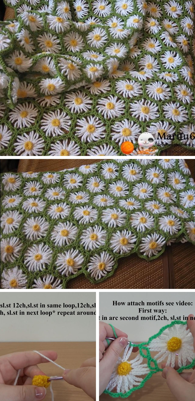 Crochet Daisy Flower Blanket Pattern : Daisy Crochet Flower Blanket Tutorial CrochetBeja