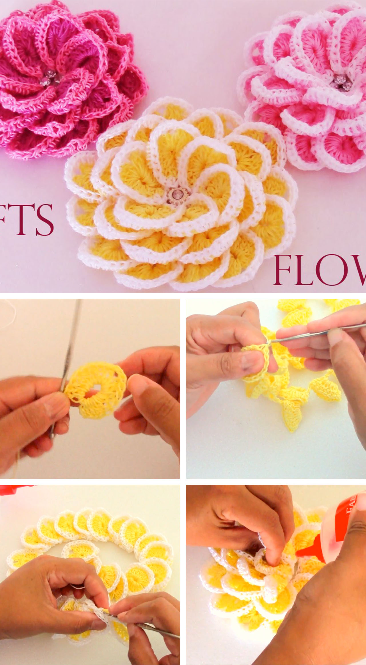 Lovely Crochet Flowers Tutorial