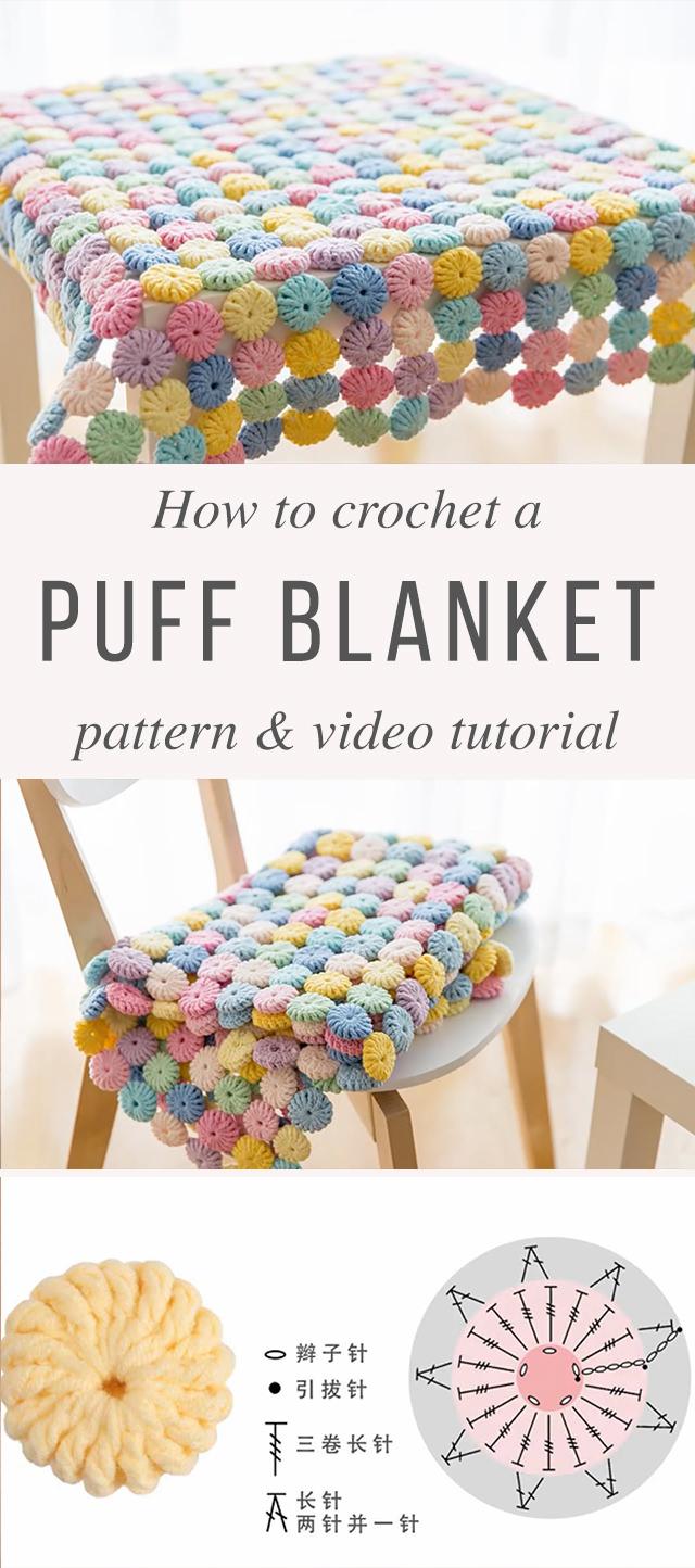 Puff Blanket Crochet Pattern Tutorial