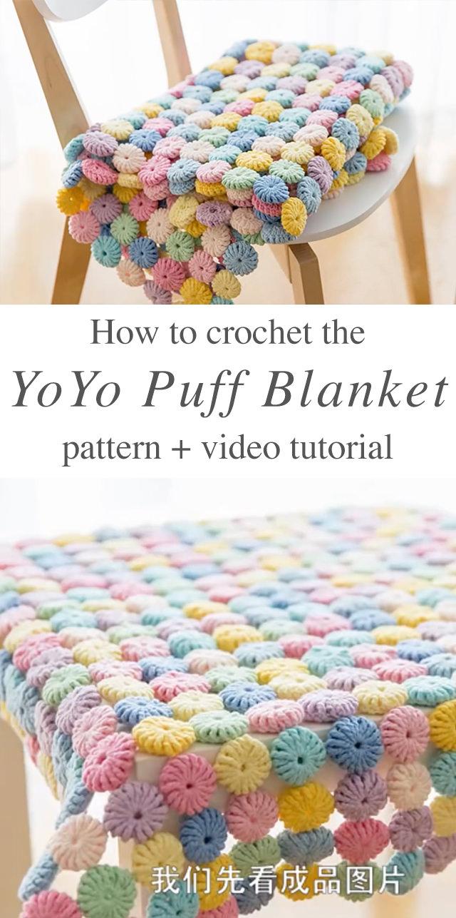 Puff Crochet Blanket Tutorial and Free Pattern | CrochetBeja