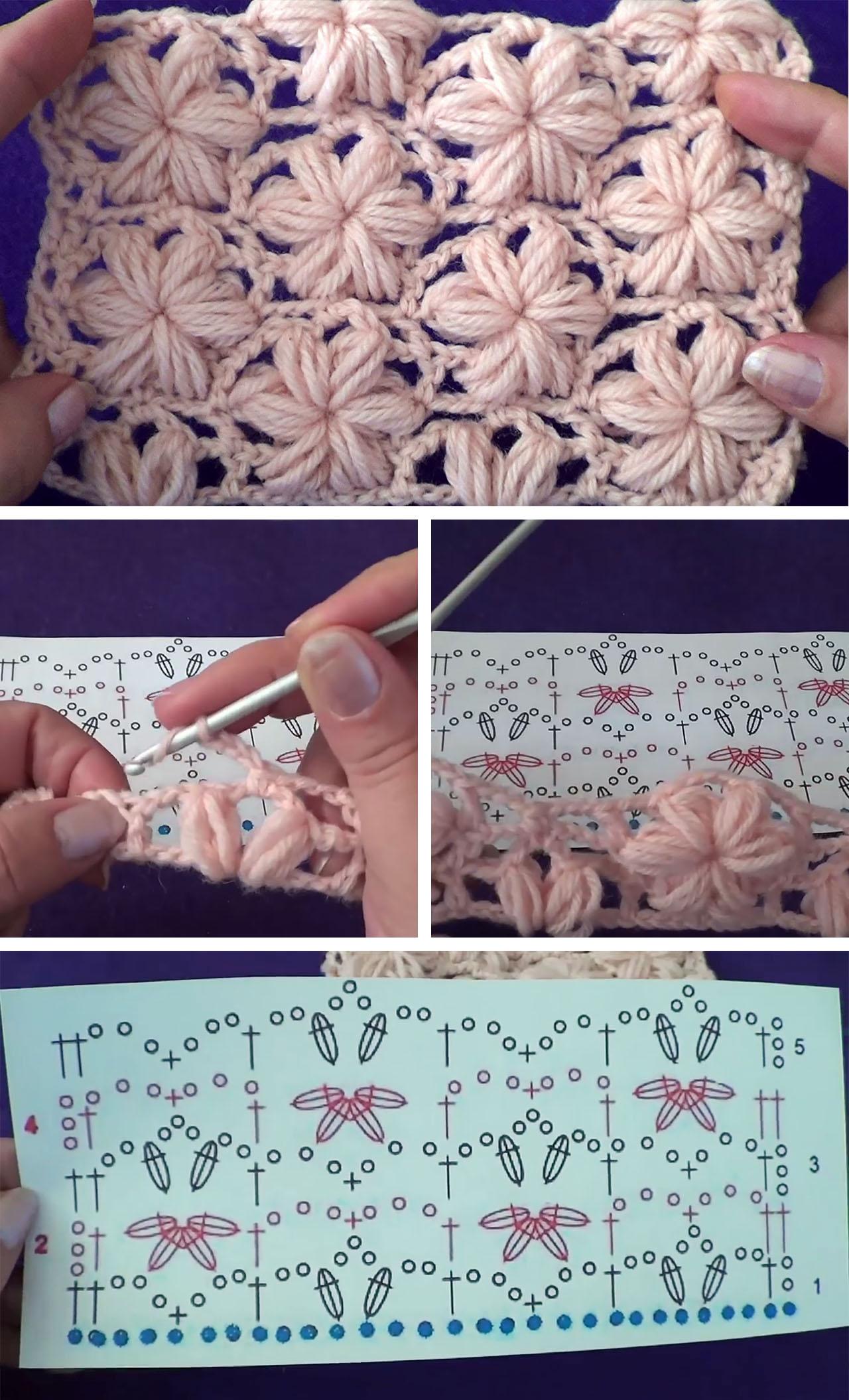 Puff Stitch Crochet Flower Pattern Tutorial