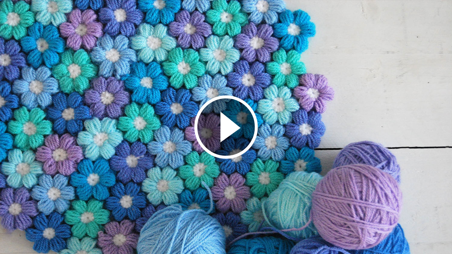 Crochet Flower Puff Pattern : Joined Puff Crochet Flowers Tutorial CrochetBeja