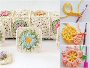 Spring Crochet Flower Granny Squares Pattern