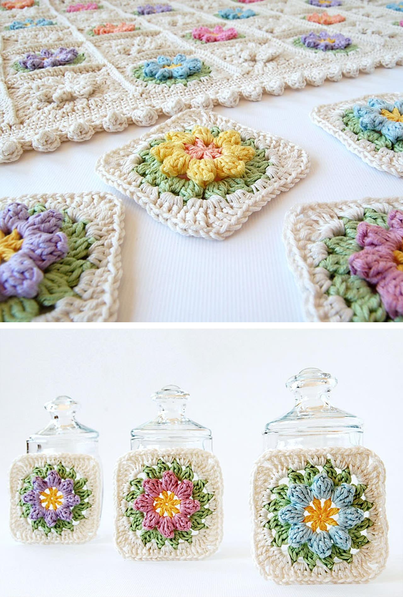Spring Crochet Flower Granny Squares