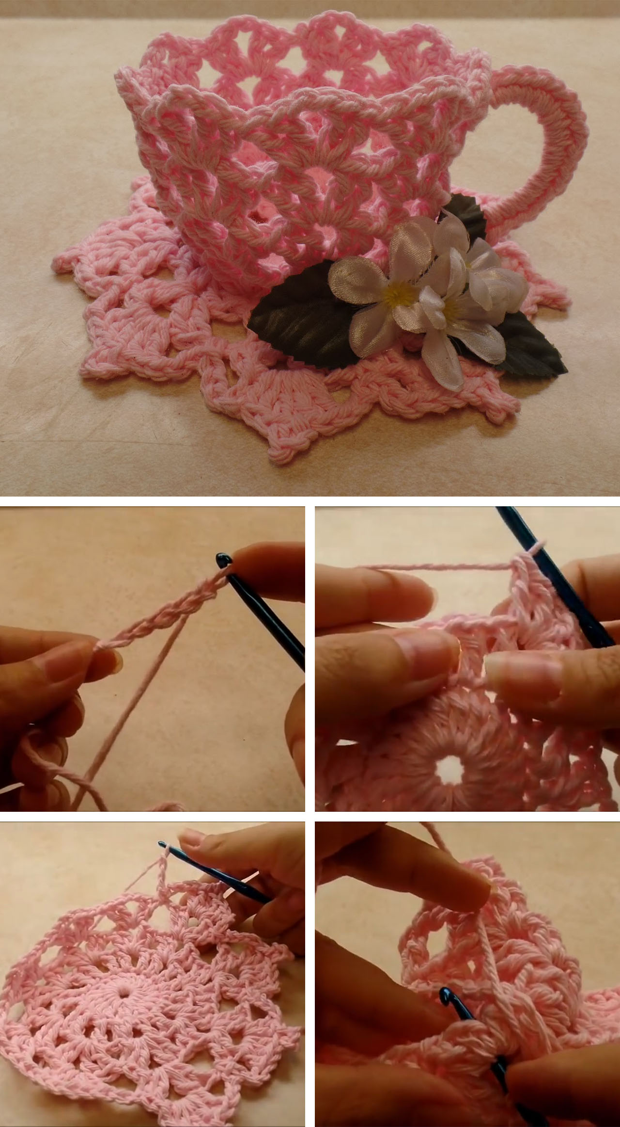 Teacup Crochet Decorations Tutorial