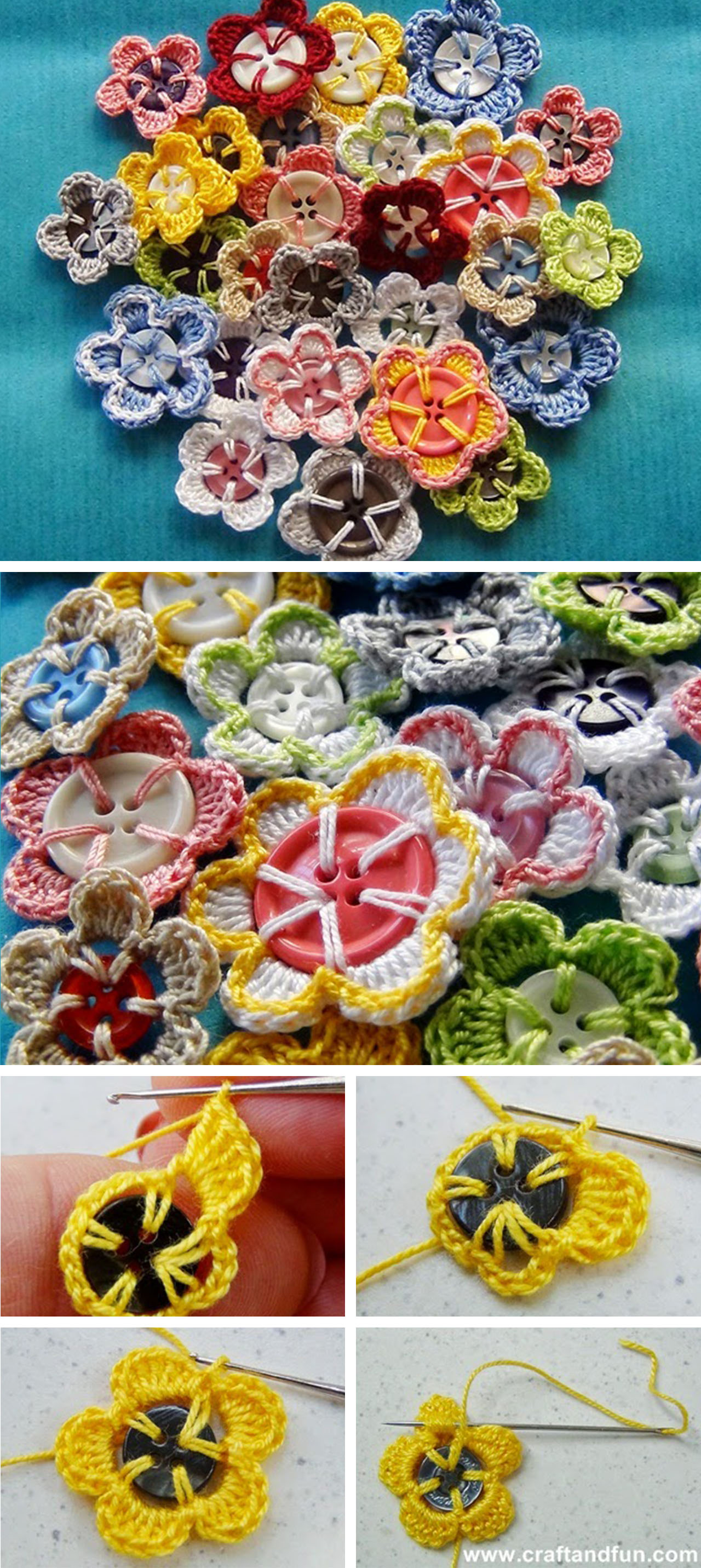 Crochet Button Flowers Tutorial