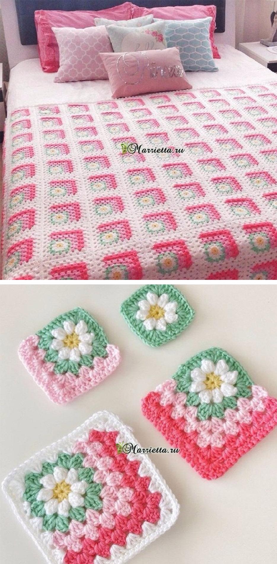 Flowers Crochet Granny Square Blanket Pattern | CrochetBeja