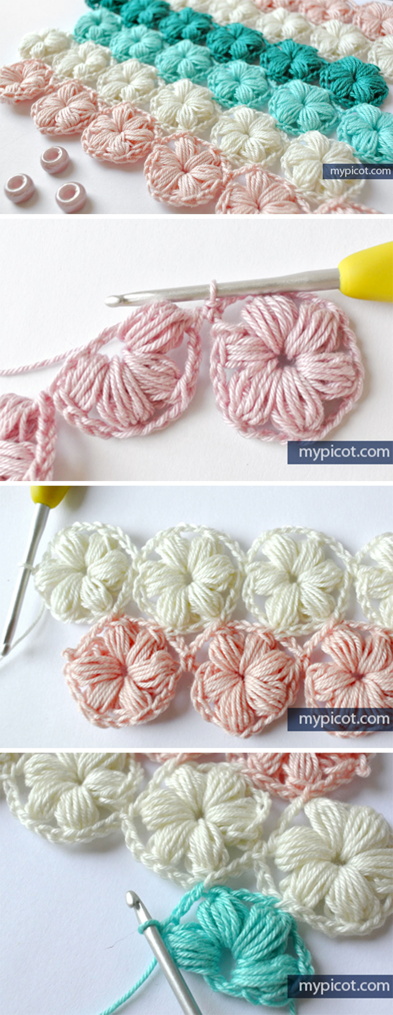 Flower Puff Stitch Crochet Free Pattern