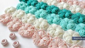 Flower Puff Stitch Crochet Free Pattern