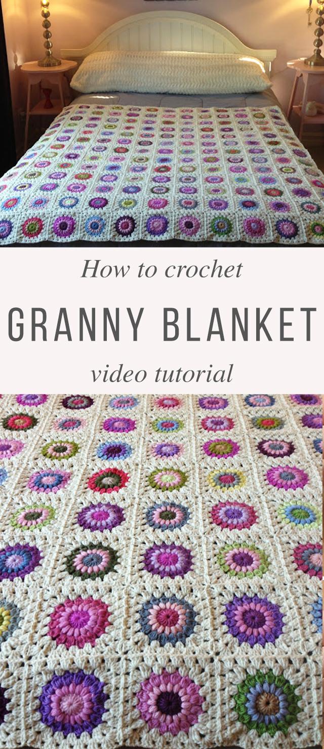 Granny Square Blanket Crochet Pattern Tutorial