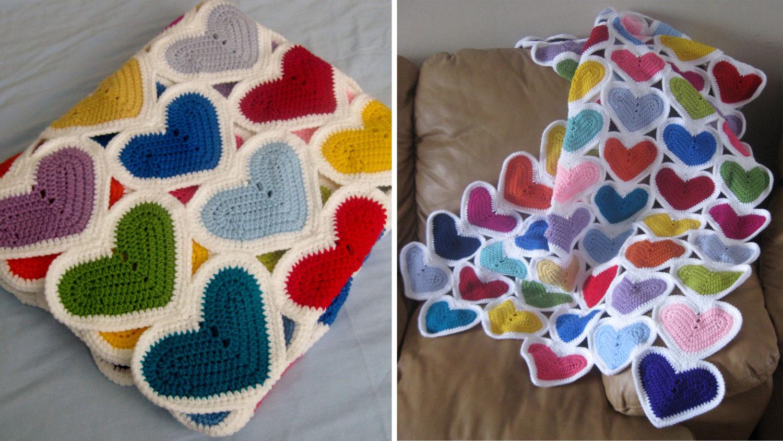 Crochet Hearts Blanket Free Pattern