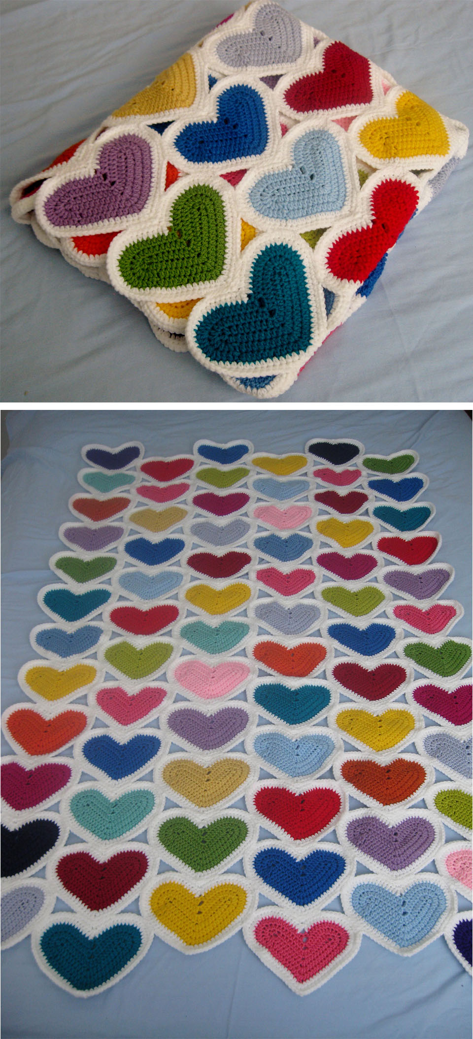 Hearts Crochet Blanket Tutorial