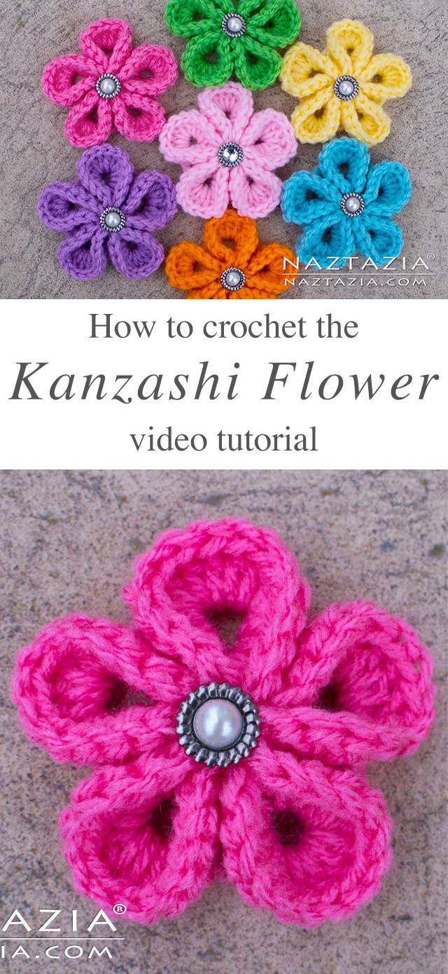 Crochet Kanzashi Flower Tutorial | CrochetBeja