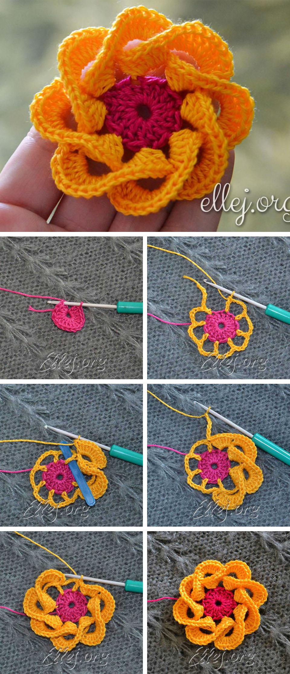 Multi Petals Crochet Flower Pattern Tutorial
