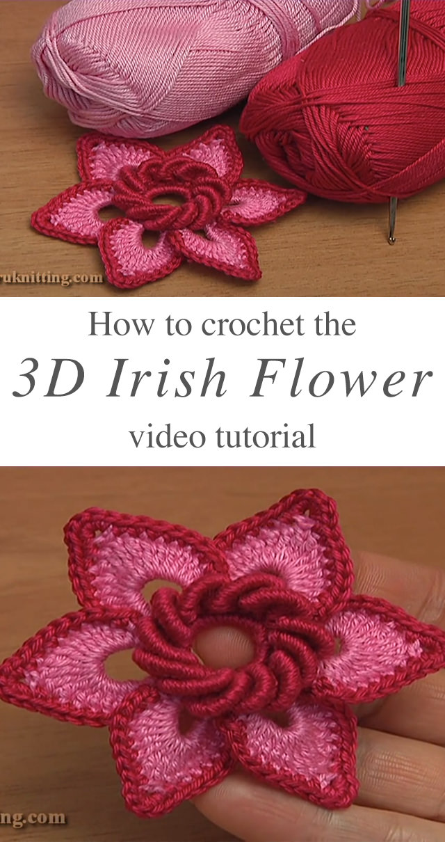 3d Irish Flower Crochet Pattern Tutorial Crochetbeja