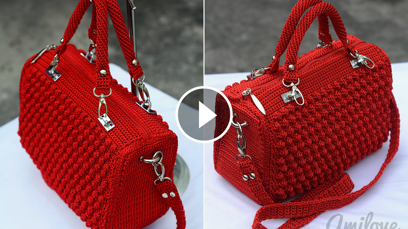 Bobble Stitch Handbag Crochet Pattern Featured Image