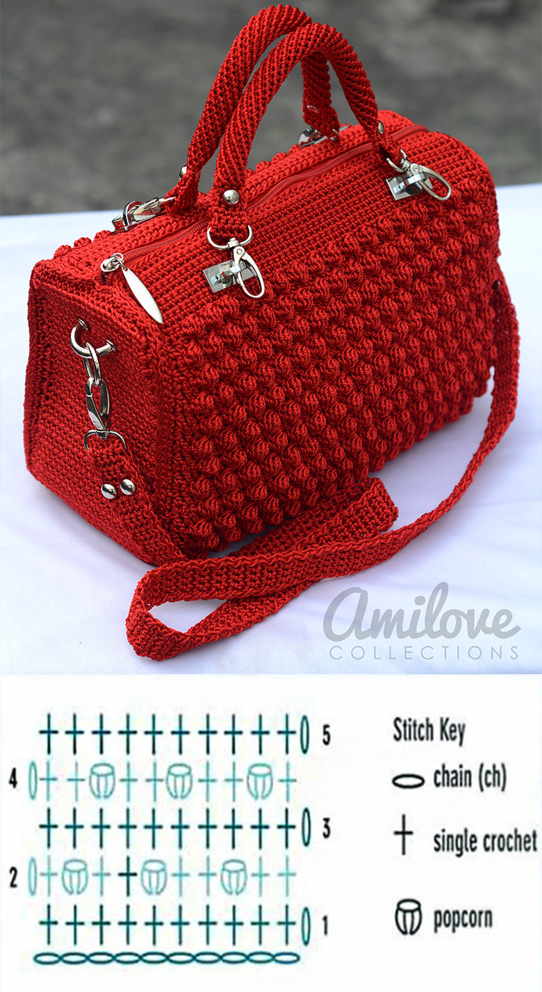 Bobble Stitch Handbag Crochet Pattern