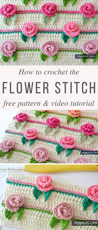 Rose Flower Stitch Crochet Pattern Tutorial   CrochetBeja