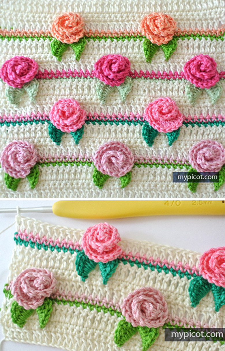 Crochet Patterns Tutorial : Rose Flower Stitch Crochet Pattern Tutorial CrochetBeja