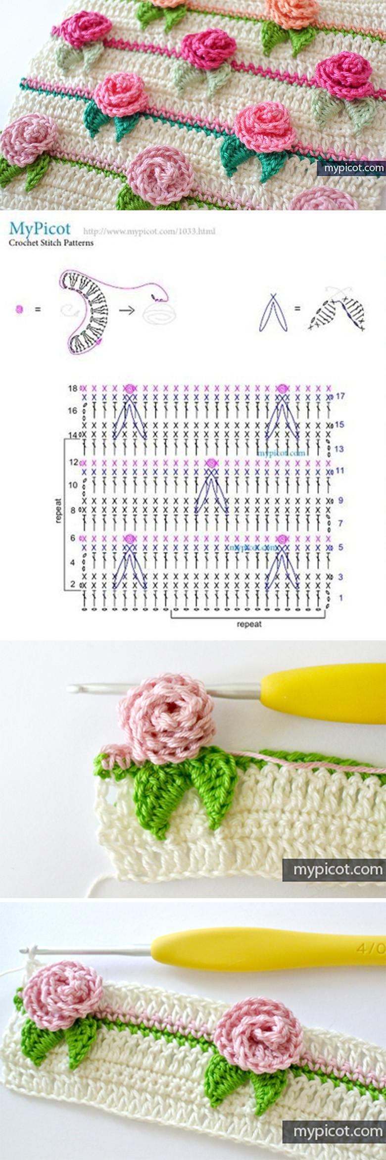 Rose Flower Stitch Crochet Pattern