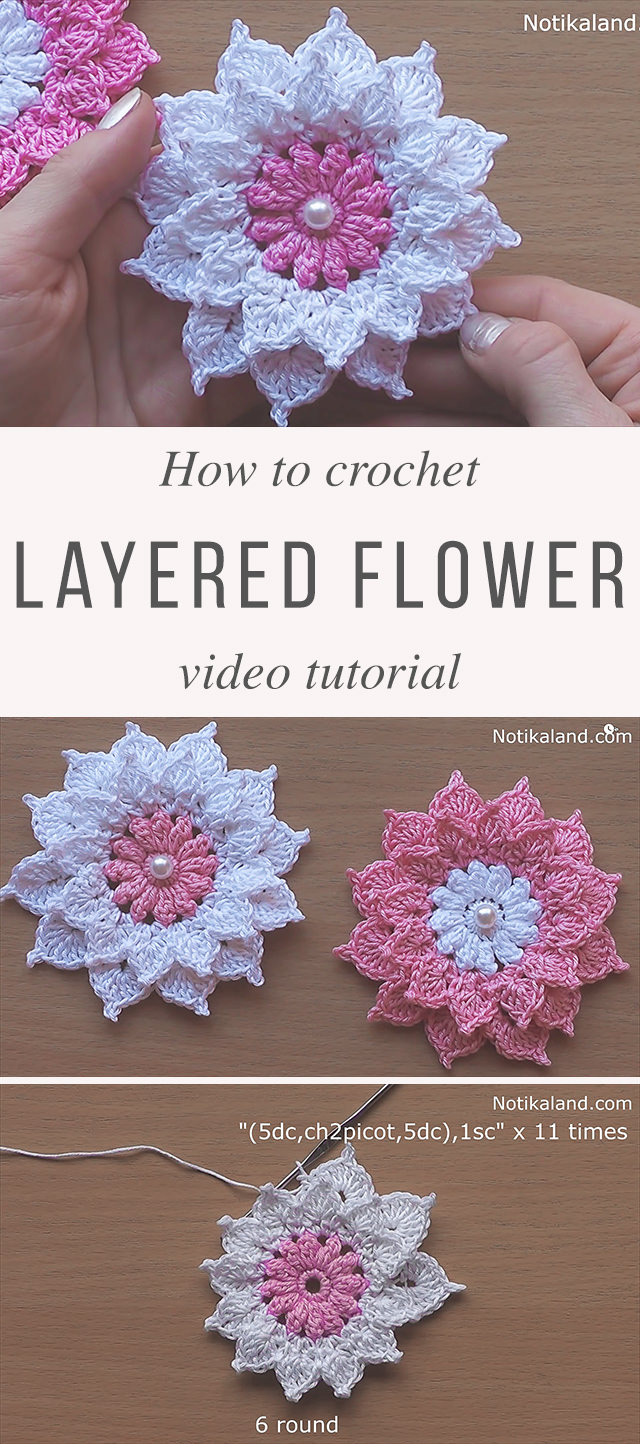 Layered 12 petal flower crochet tutorial crochetbeja for 12 petal flower template