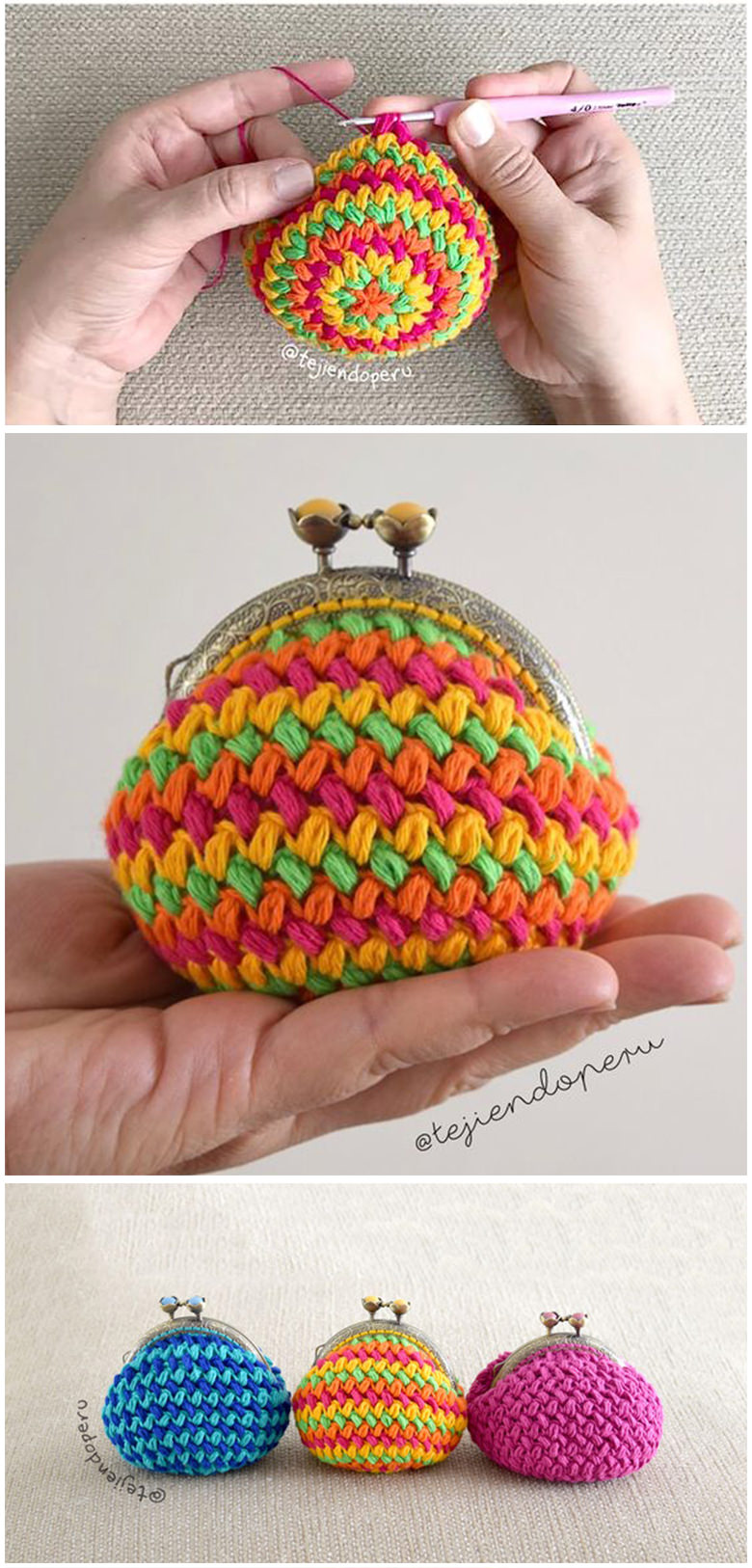 Bean Stitch Purse Crochet Pattern Tutorial
