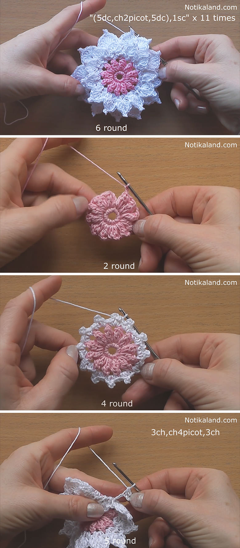 Layer 12-Petals Flower Crochet Pattern