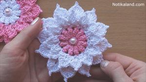 Layered 12-Petal Flower Crochet Tutorial