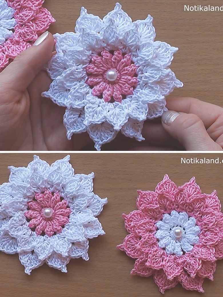 Layer 12 petals flower crochet pattern tutorial for 12 petal flower template