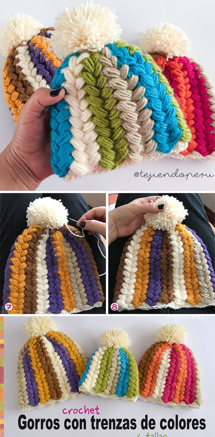 Braid Puff Stitch Hat Crochet Pattern Tutorial