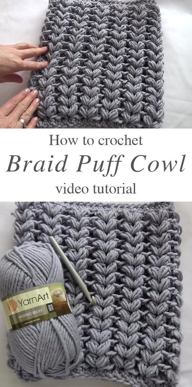 Amazing Braided Puff Stitch Crochet Cowl Crochetbeja