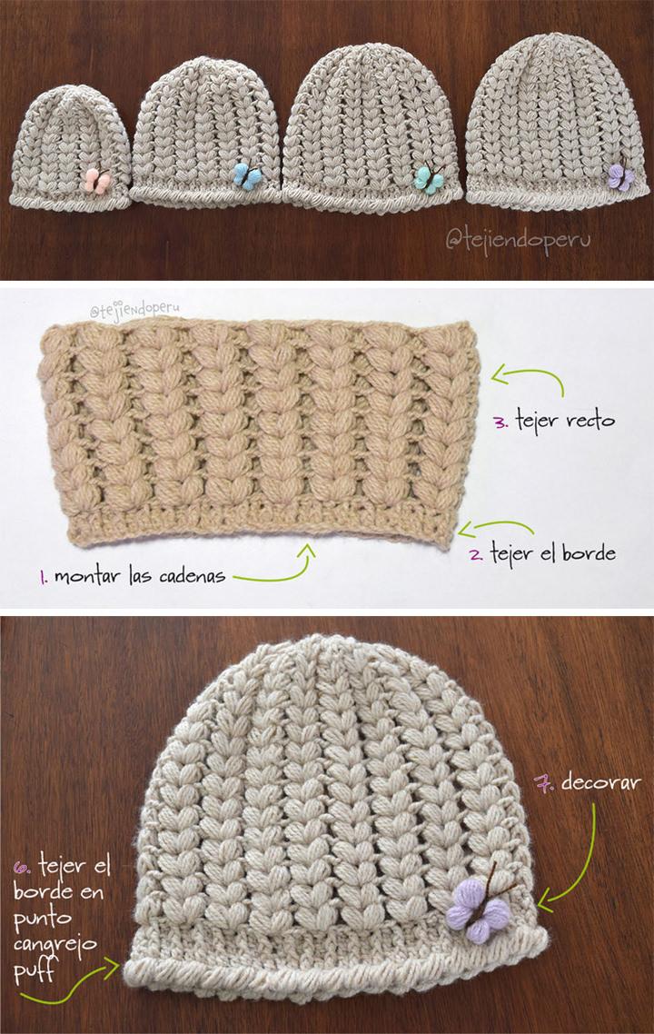 Puff Stitch Hat Crochet Pattern Tutorial