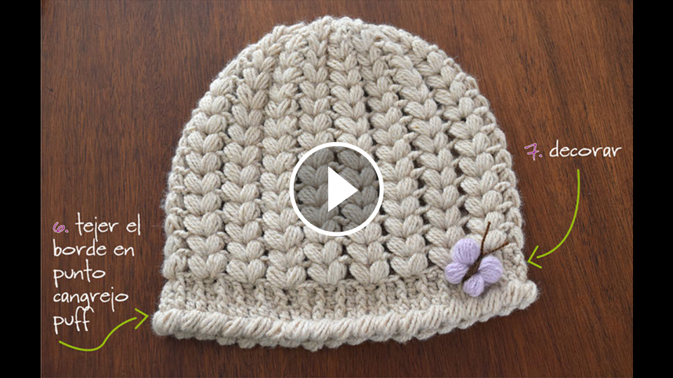 Puff Stitch Hat Crochet Pattern Tutorial
