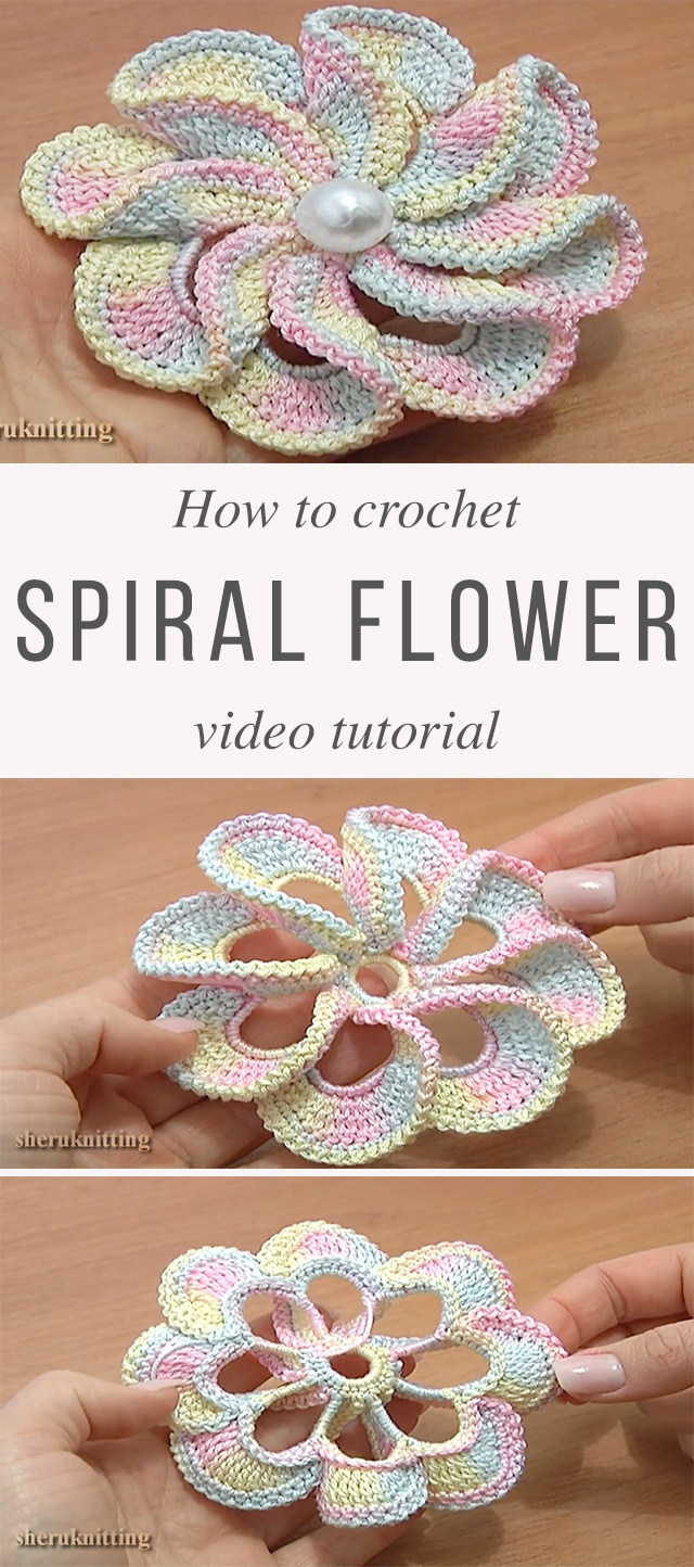 How To Easily Crochet 3D Spiral Flower | CrochetBeja