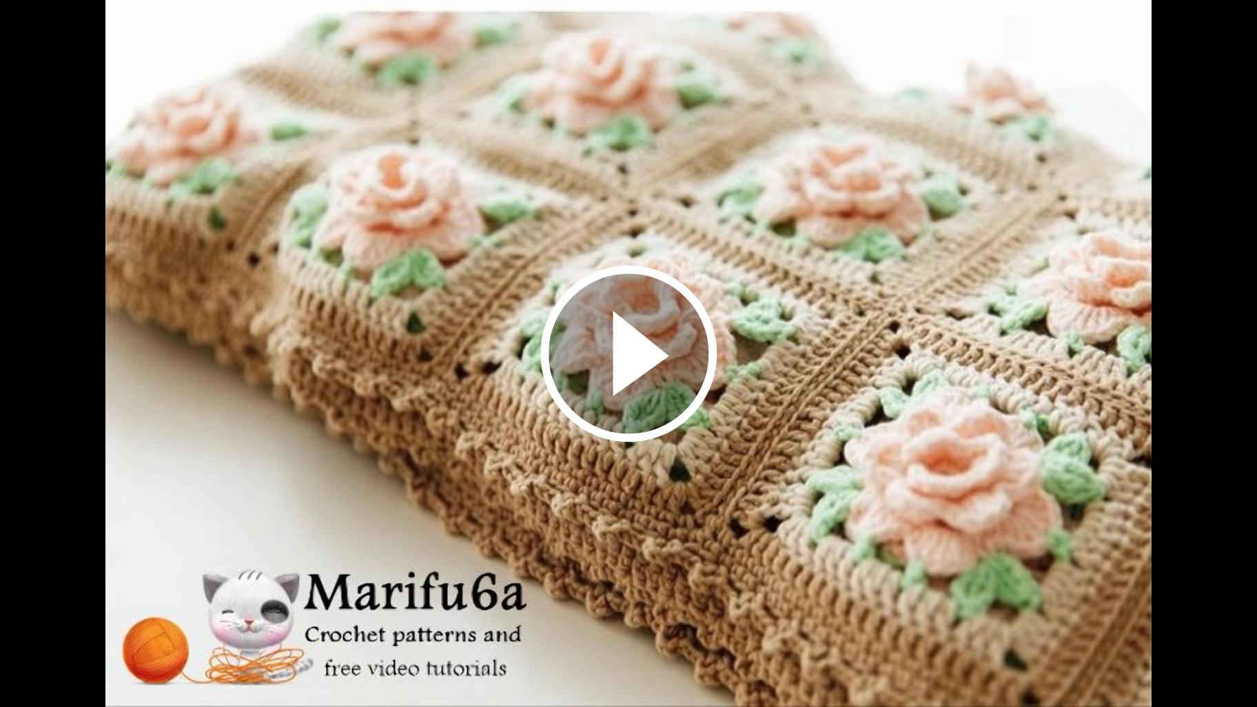 Rose Square Blanket Crochet Pattern Tutorial