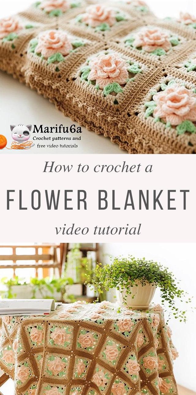 Rose Granny Blanket Crochet Pattern Tutorial
