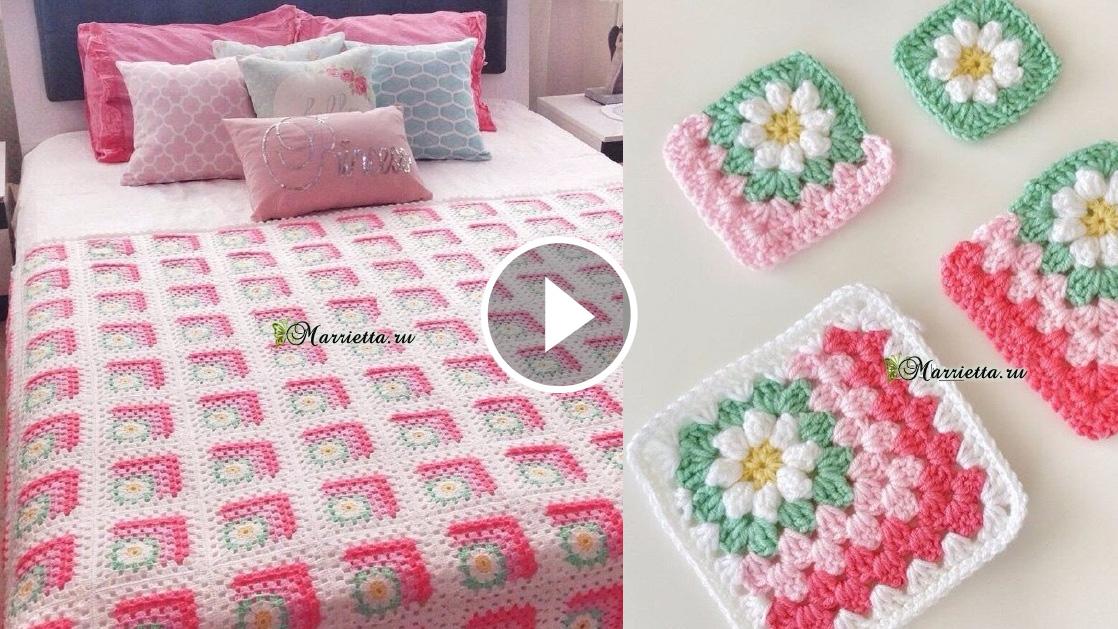 Flowers Square Blanket Crochet Pattern Tutorial