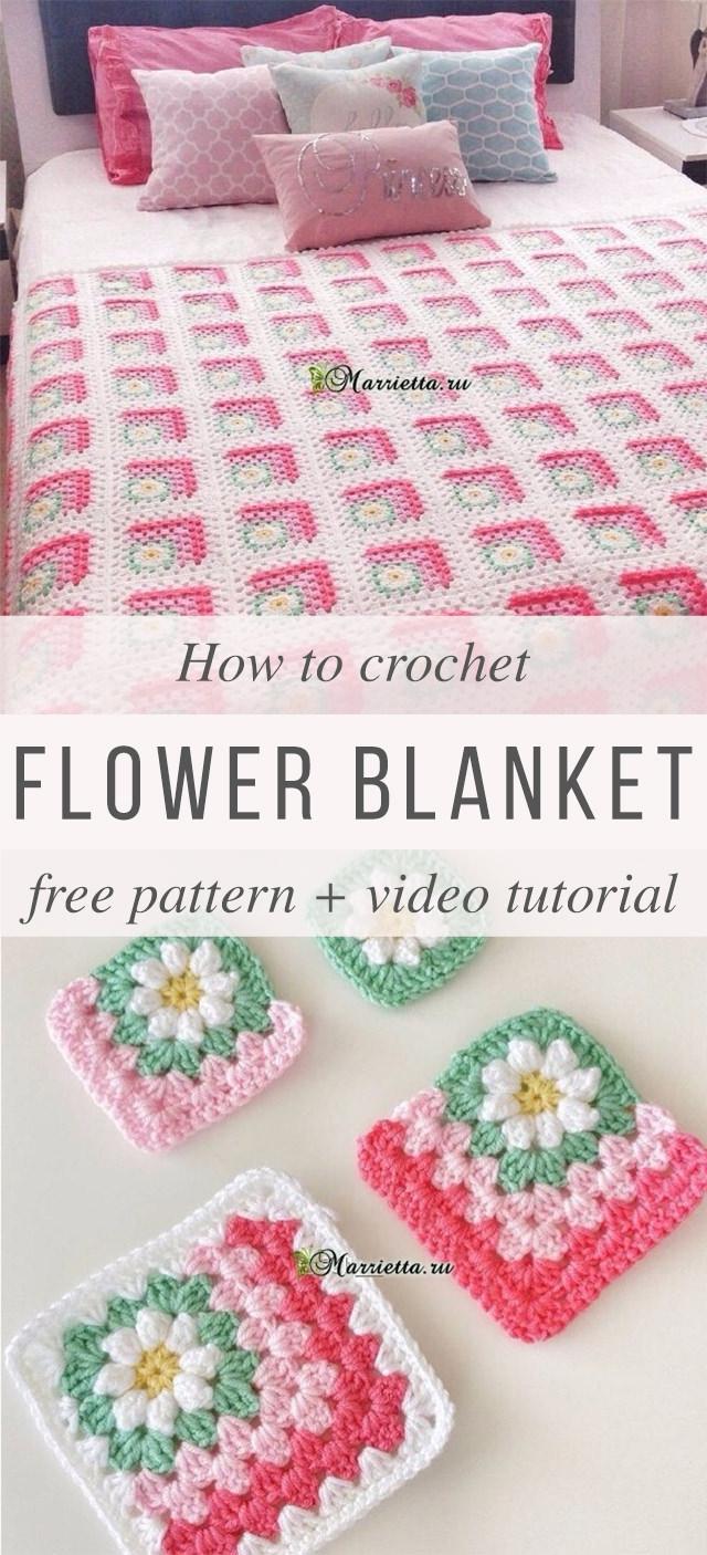 Crochet Flowers Granny Square Blanket Crochetbeja